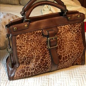 Fossil vintage revival calf hair tote